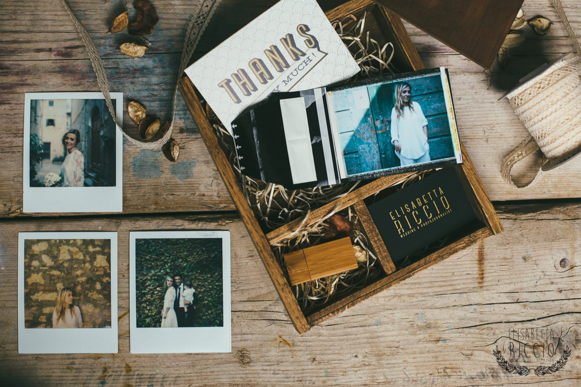 packaging - wedding packaging - wooden box - home made wedding box - fine art print - usb- polaroid