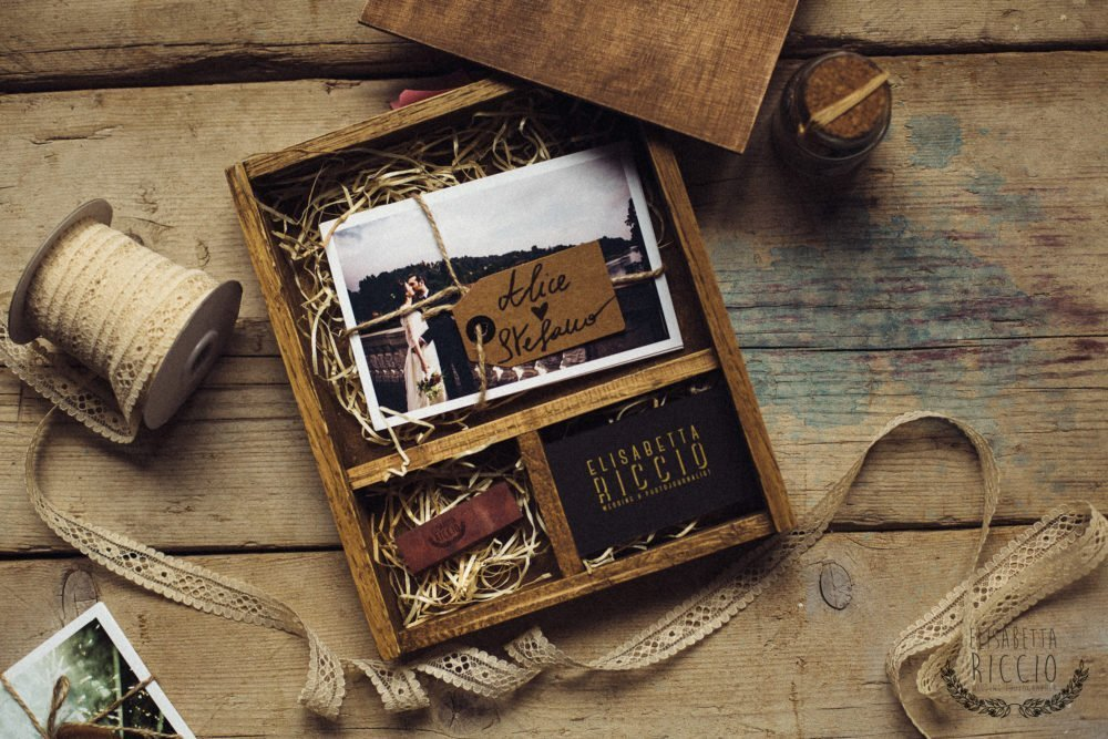 wooden box - home made wedding box - fine art print - usb